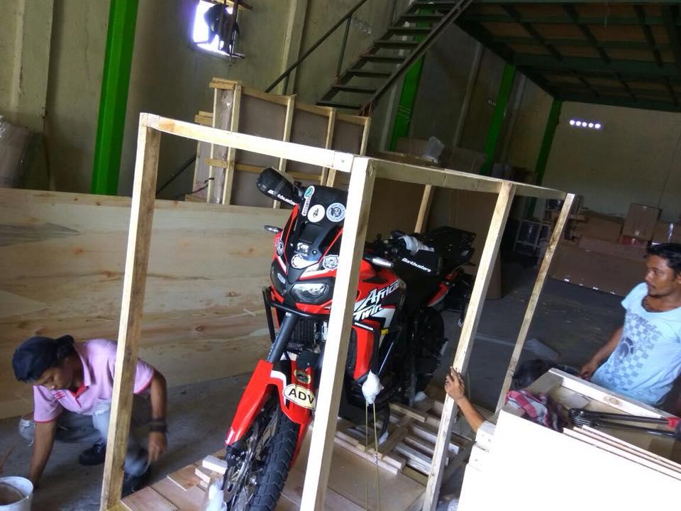 Motorbike crating begins